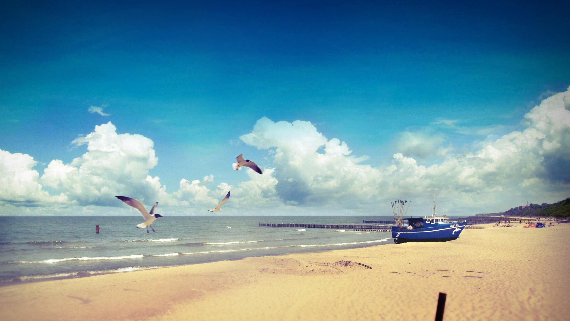 Plaża w Ustroniu Morskim - słoneczny dzień. Na plaży kutry, letające mewy.